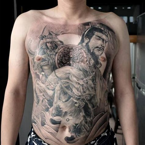 tattoo chest samurai realistic chest samurai belly tattoo by elvin tattoo