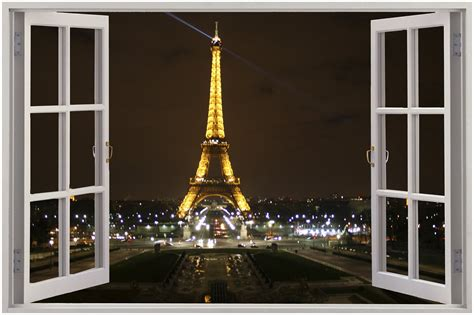 Eiffel Tower Wall Mural pics photos night view of eiffel tower wall mural