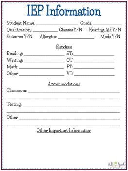 iep at a glance template iep at a glance sheet by sublime speech teachers pay