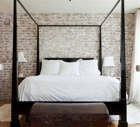 white brick wallpaper bedroom a dash of black whitewashed brick poster beds and dark