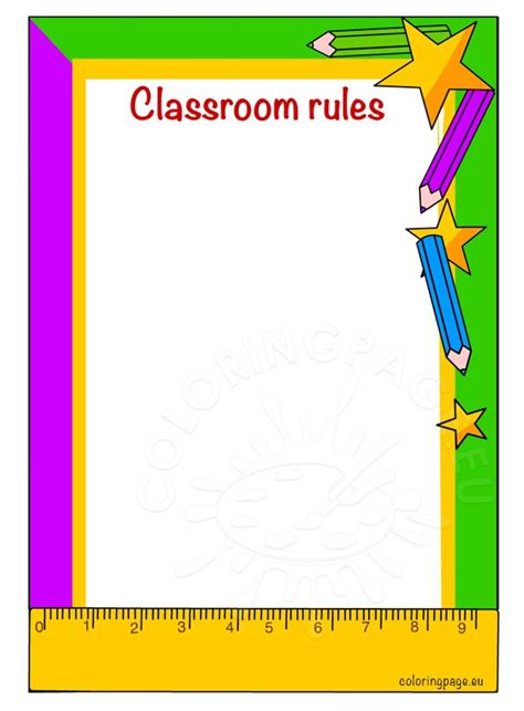 printable instructions classroom classroom rules printable coloring page
