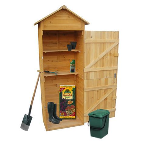 garten schrank armadio in legno da esterno per accessori giardino h 190
