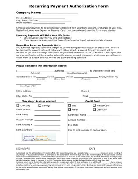 free credit card payment authorization form template recurring payment authorization form template