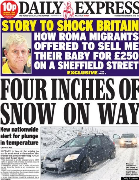 express page daily express weather front page forgets snow happens