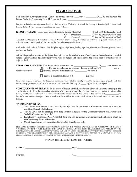 Land Lease Agreement Letter Farm Land Lease Agreement Form Images