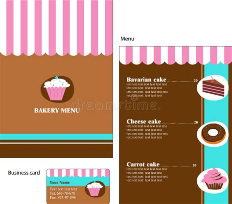 note card cafe template template designs of bakery and restaurant menu stock