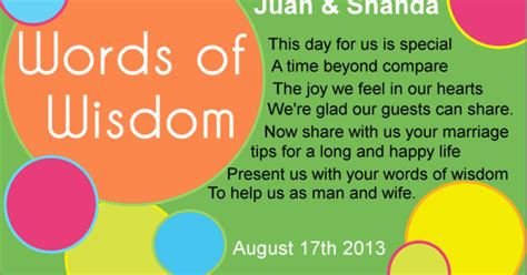 Wedding Words Of by Mspanda S Wedding Planning Words Of Wisdom Cards
