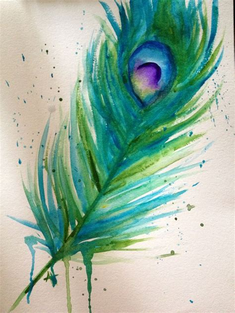 watercolor peacock feather art peacockfeather feather