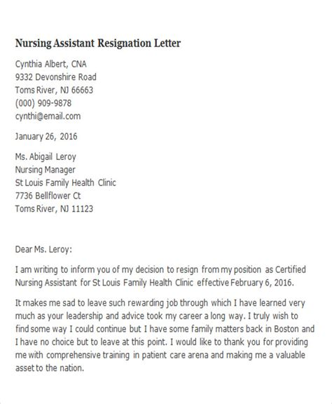 Resignation Letter Certified Assistant how to write a resignation letter for nursing assistant howsto co