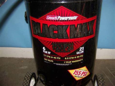 coleman powermate black max air compressor  hose  adapter  fireproof safe power