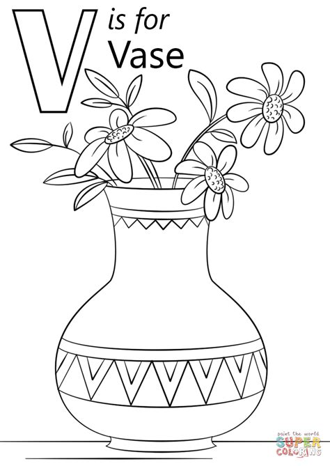 V Is For Coloring Page letter v is for vase coloring page free printable