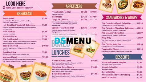 bakery menu templates digital menu board for restaurant