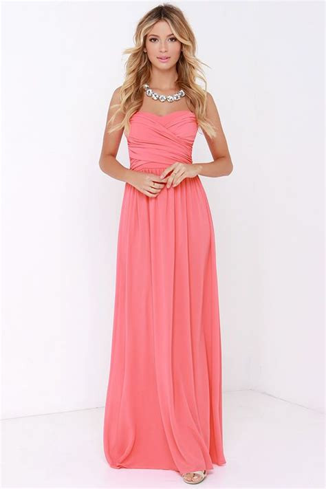 Maxy Pink royal engagement strapless coral pink maxi dress pink