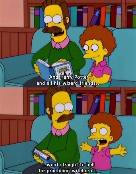 Haha Simpsons Meme - ned flanders teaches his kids about harry potter s destiny
