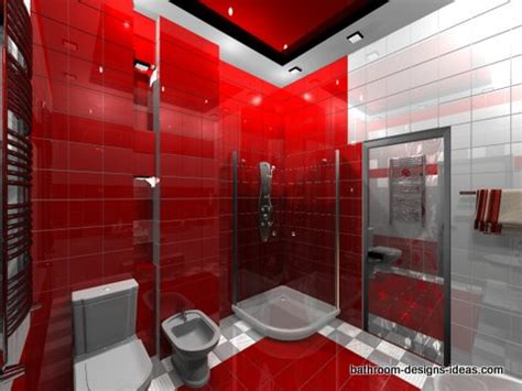 Red And Gray Bathroom - red bathroom