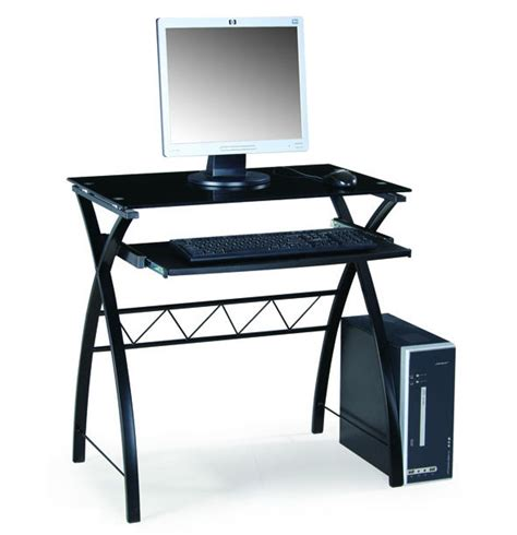 Black Glass And Wood Computer Desk Small Mini Design Mini Computer Desk