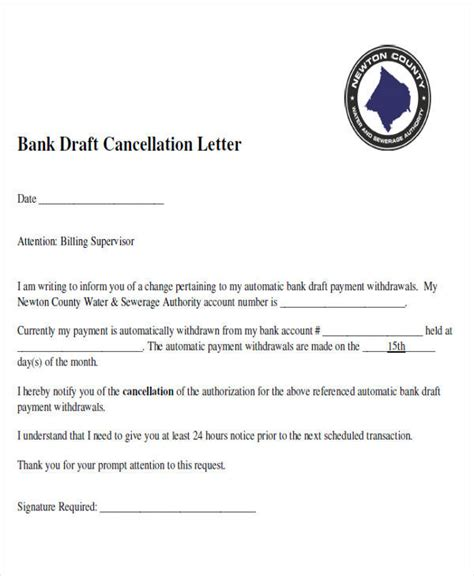 cancellation letter of bank draft free demand letters