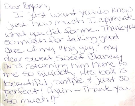 thank u letter for him customer comments toothacres petcare center