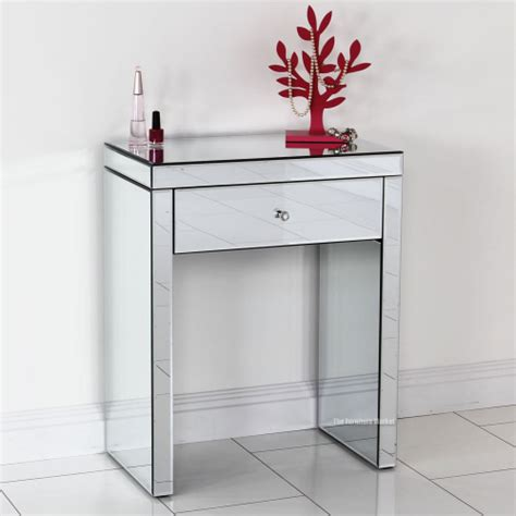 glass dressing table venetian mirrored glass compact console dressing table