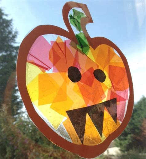 Stained Glass Pumpkin Suncatcher Crafts On Sea
