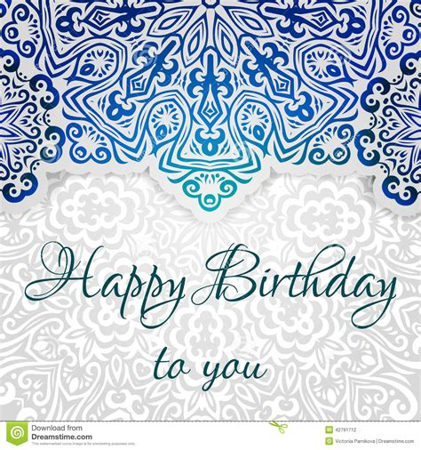 indian birthday card template lacy ethnic vector happy birthday card template