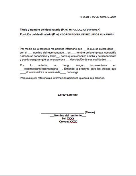 carta de recomendacion laboral destinatario carta de recomendaci 243 n personal gt formatos y ejemplos mil formatos