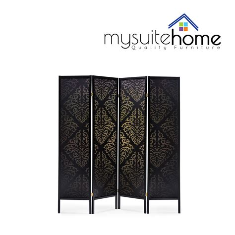 room divider stand brand new timber wooden black patterned 4 panel fold screen room divider stand aud 199 00