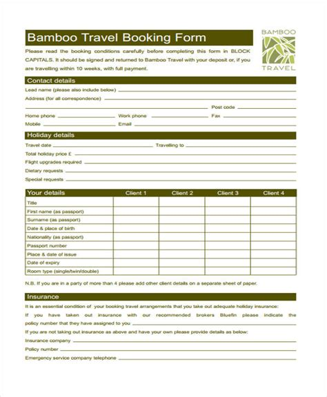 travel booking template travel form formats