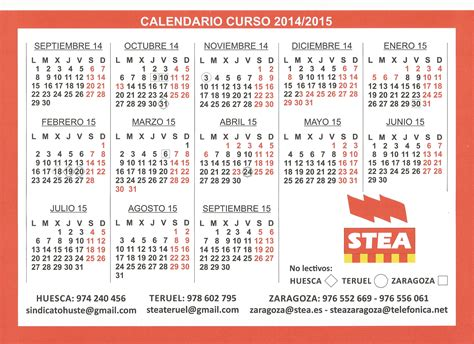 Calendario Escolar Aragon Calendario Escolar 2014 2015 Arag 243 N Stea Sindicato Huste