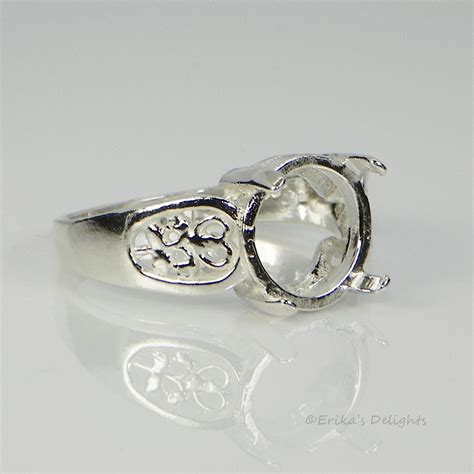 10mm filigree sterling silver pre notched ring setting