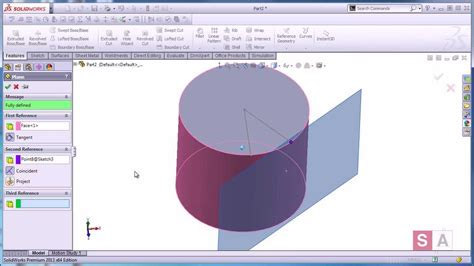 solidworks tutorial creating plane creating tangent planes in solidworks youtube