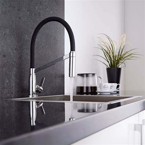modern monobloc kitchen sink mixer tap chrome black