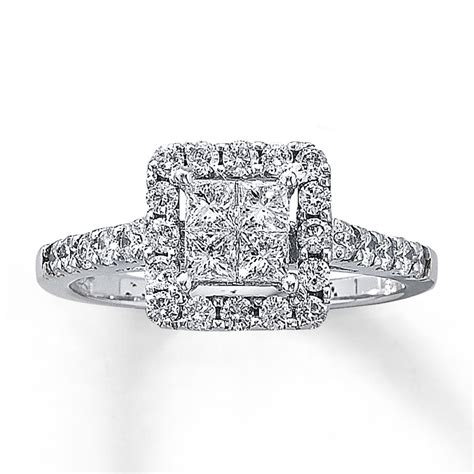engagement ring 1 ct tw diamonds 14k white gold