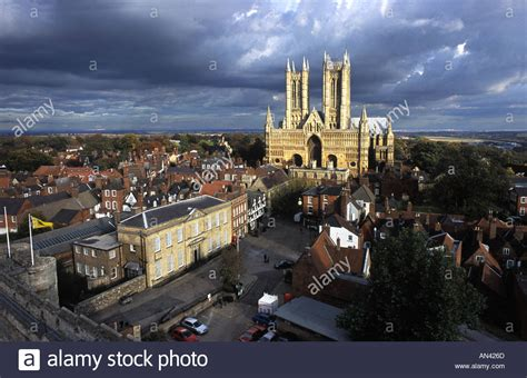 lincoln city landscape with cathedral stock photo royalty