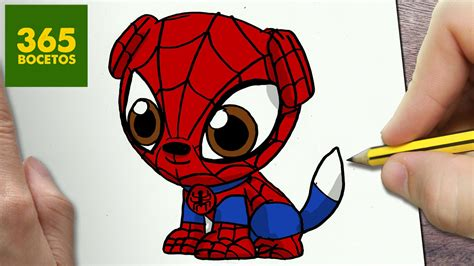 imagenes de spiderman para dibujar faciles como dibujar perro spiderman kawaii paso a paso dibujos