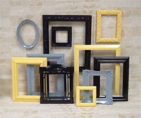 gray and yellow home decor picture frames black picture frame set yellow gray grey home decor wall b16 sprays black