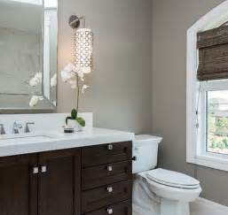 grey bathroom accent color espresso vanity contemporary bathroom atmosphere