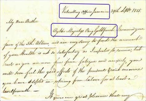 jamaican up letter edward warren to his jamaica to plymouth dock 1815