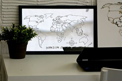 decorative world map mirror black frame square