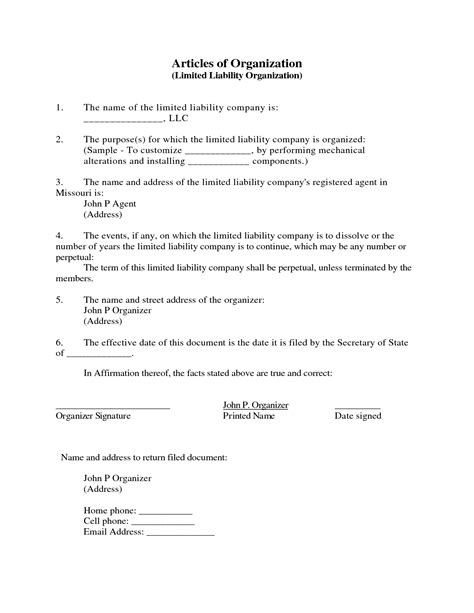 Llc Articles Of Organization Company Documents Llc Articles Of Organization Template