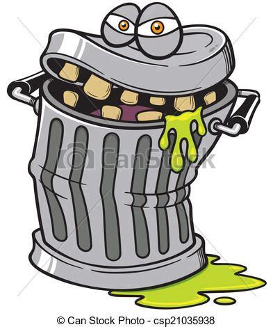 bidone rifiuti vettore mostro illustrazione lattina