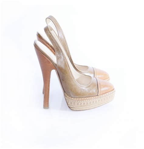 prada high heel shoes prada prada slingback brown high heel shoes in size 39