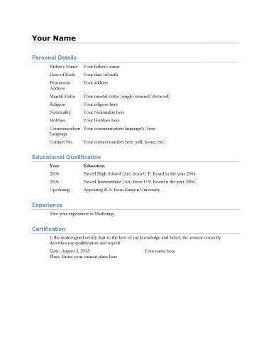 simple resume biodata biodata template simple biodata format