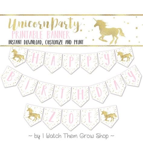 printable unicorn birthday banner unicorn party banner editable printable unicorn birthday