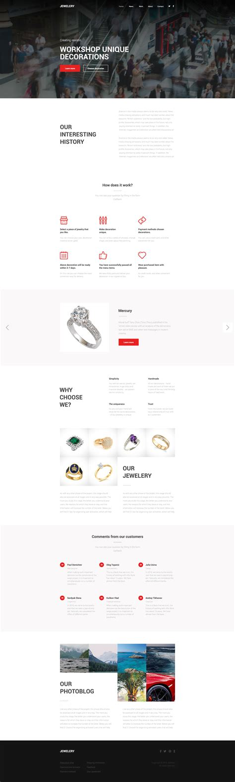 jewelery one page html template free templates