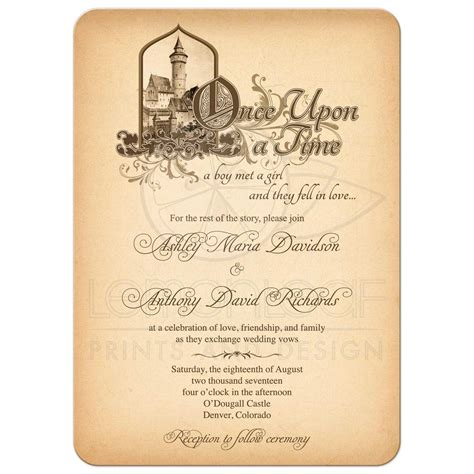 time on wedding invitation tale wedding invitation castle once upon a time