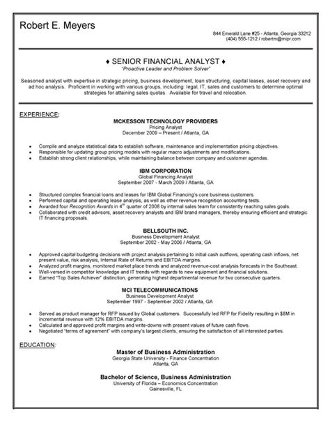 sle senior financial analyst resume sle federal budget analyst resume 28 images sle