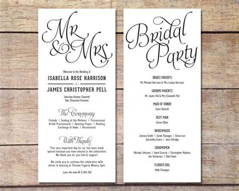 classical program template simple wedding program customizable design