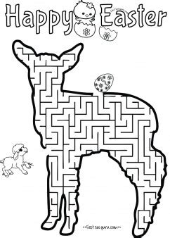 Print out easter mazes puzzles lamb to find the eggs