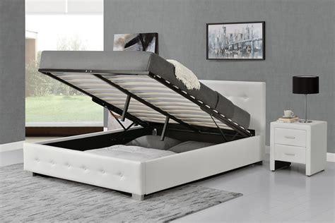 lit design capitonn 233 140x190 blanc avec coffre de